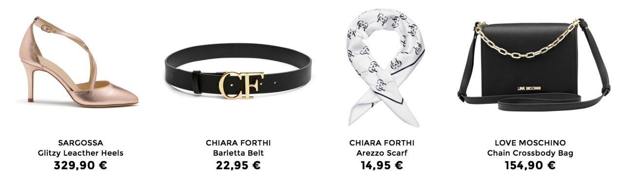 Sargossa heels, Barletta yö, Arezzo scarfi ja Love Moschino käsilaukku