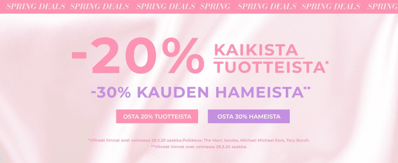 -20% kaikista tuotteista ja -30% kauden hameista - Osta täältä!