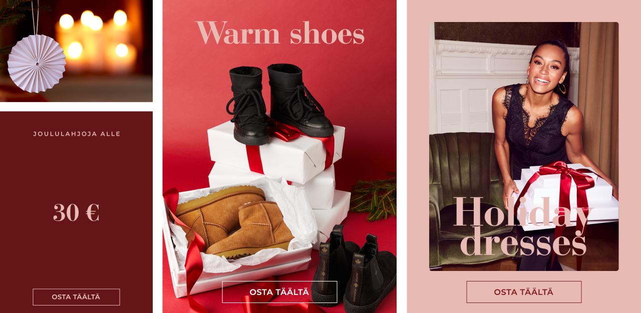 Warm shoes, holiday dresses & christmas gift under 30 € - Osta täältä