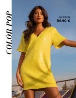 Keltainen sequin-mekko