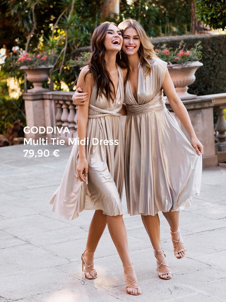 Goddiva Multi Tie Midi Dress Gold