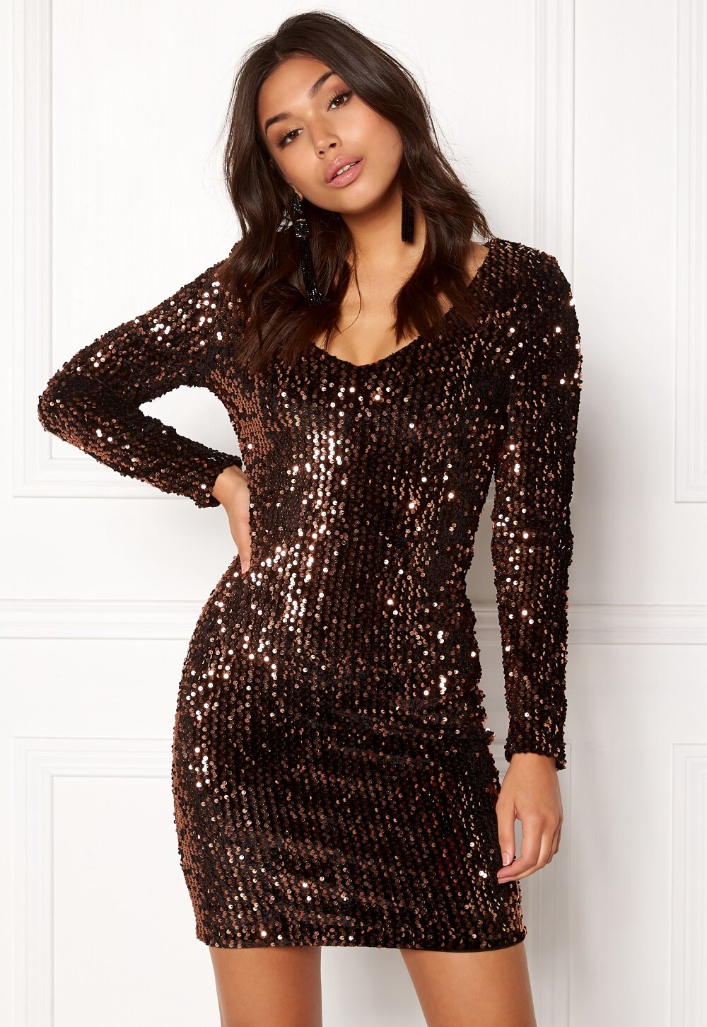 ONLY Confidence Bodycon Dress Black Sequins Copper