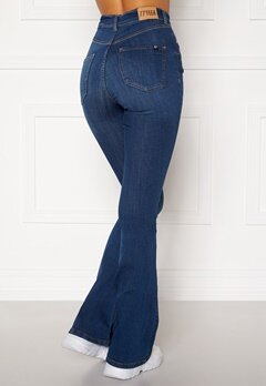 77thFLEA Tove high waist flared superstretch Medium blue Bubbleroom.fi