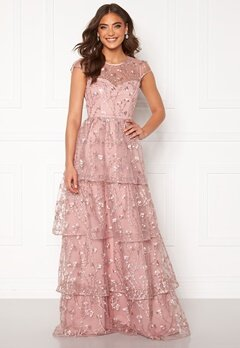 Alexandra Nilsson X Bubbleroom Flounced gown Dark heather pink Bubbleroom.fi
