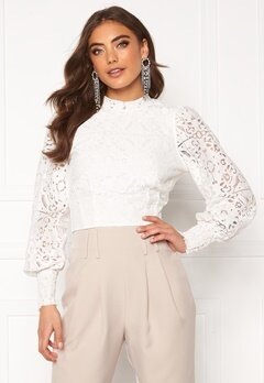 Alexandra Nilsson X Bubbleroom Lace balloon sleeve top White Bubbleroom.fi