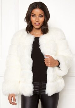 AMO Couture Dusk Faux Fur Coat White Bubbleroom.fi