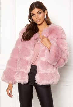 AMO Couture Dusk Faux Fur Short Coat Dusky Pink Bubbleroom.fi