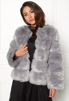 AMO Couture Dusk Faux Fur Short Coat Pewter Bubbleroom.fi