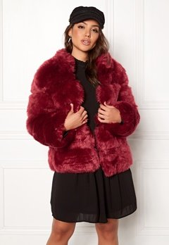 AMO Couture Phantom Faux Fur Short Coat Deep Red Bubbleroom.fi