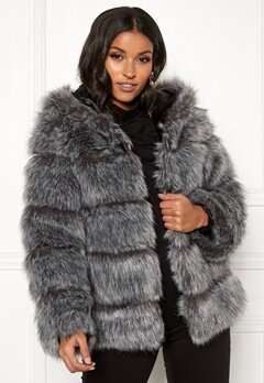 AMO Couture Roma Faux Fur Hood Coat Silver Fox Bubbleroom.fi