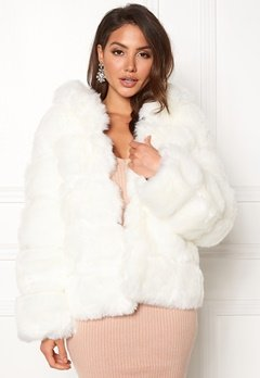 AMO Couture Roma Faux Fur Short Coat Pure White Bubbleroom.fi