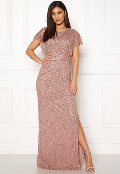 AngelEye Allover Sequin Maxi Dress Rose gold Bubbleroom.fi