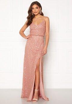 AngelEye Allover Sequin Maxi Dress Rose Gold Bubbleroom.fi