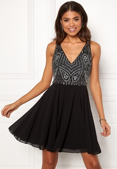 AngelEye Embellished Skater Dress Black Bubbleroom.fi
