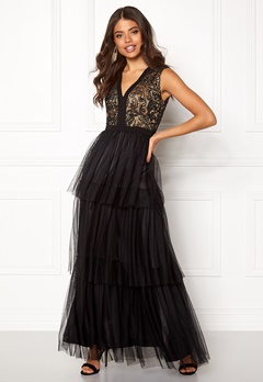AngelEye Lace Bodice Maxi Dress Black Bubbleroom.fi