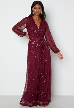 AngelEye Long Sleeve Seqiun Dress Burgundy bubbleroom.fi