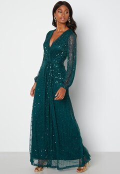 AngelEye Long Sleeve Seqiun Dress Emerald bubbleroom.fi