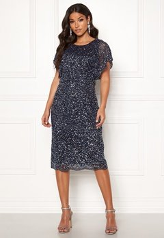 AngelEye Scallop Sequin Midi Dress Navy Bubbleroom.fi