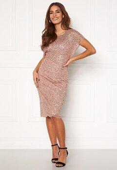 AngelEye Scallop Sequin Midi Dress Rose Gold Bubbleroom.fi