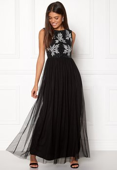 AngelEye Sequin Bodice Maxi Dress Black Bubbleroom.fi