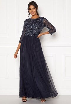 AngelEye Sequin Bodice Maxi Dress Navy Bubbleroom.fi