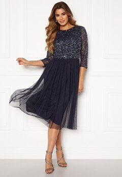AngelEye Sequin Bodice Mid Dress Navy Bubbleroom.fi