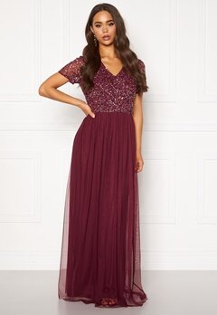 AngelEye Short Sleeve Sequin Dress Burgundy Bubbleroom.fi