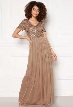 AngelEye Short Sleeve Sequin Dress Taupe bubbleroom.fi