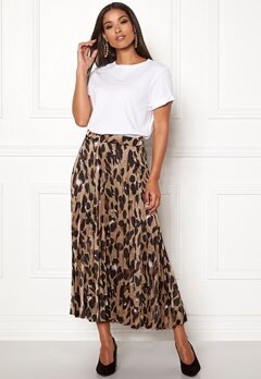 New Look Animal Pleated Midi Skirt Brown Pattern Bubbleroom.fi