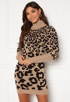 AX Paris Animal Knitted Dress Stone Leo Bubbleroom.fi