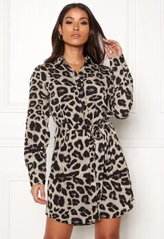 AX Paris Animal Print Shirt Dress Grey Leo Bubbleroom.fi