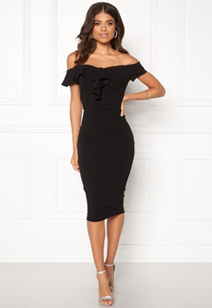 AX Paris Bardot Frill Detail Dress Black Bubbleroom.fi