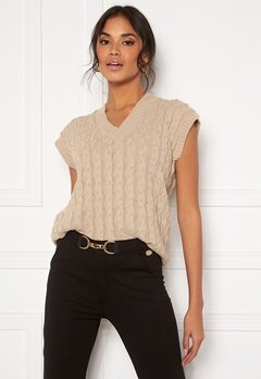 AX Paris Cable Knit Tank Top Stone Bubbleroom.fi