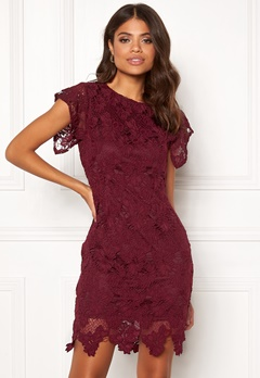 AX Paris Crochet Midi Dress Plum Bubbleroom.fi