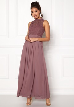 AX Paris Crochet Top Chiffon Maxi Mauve Bubbleroom.fi