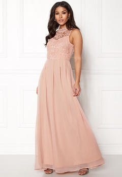 AX Paris Crochet Top Chiffon Maxi Nude Bubbleroom.fi