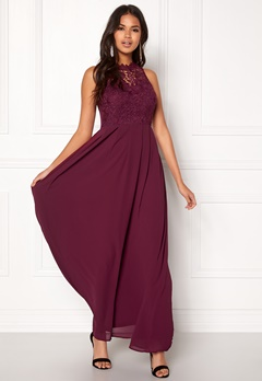 AX Paris Crochet Top Chiffon Maxi Plum Bubbleroom.fi