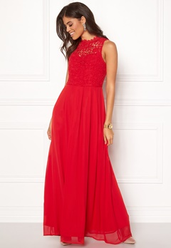 AX Paris Crochet Top Chiffon Maxi Red Bubbleroom.fi