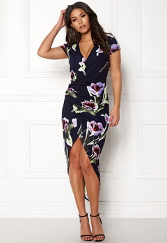 AX Paris Floral Asymmetric Dress Navy Bubbleroom.fi