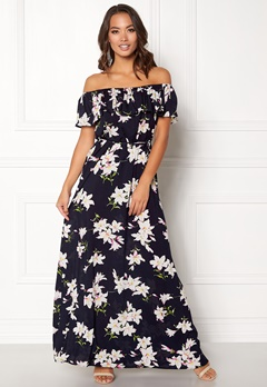 AX Paris Floral Bardot Maxi Dress Navy Bubbleroom.fi