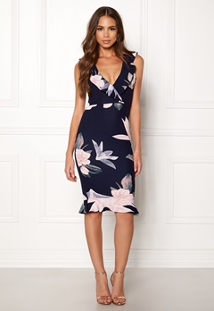 AX Paris Floral Bodycon Dress Navy Bubbleroom.fi