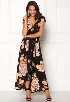 AX Paris Floral Cap Sleeve Maxi Black Bubbleroom.fi