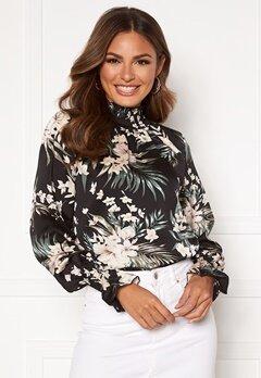 AX Paris Floral High neck blouse Black Bubbleroom.fi