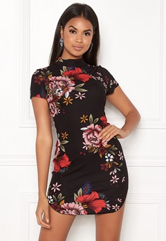 AX Paris Floral High Neck Dress Black Bubbleroom.fi