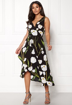AX Paris Floral Print Wrap Dress Black Bubbleroom.fi