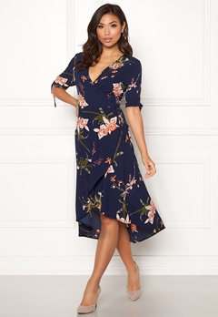 AX Paris Floral Tie Wrap Dress Navy Bubbleroom.fi