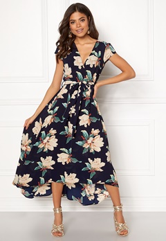 AX Paris Floral Waterfall Dress Navy Bubbleroom.fi
