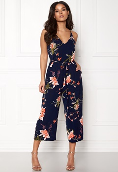 AX Paris Floral Wide Leg Jumpsuit Navy Bubbleroom.fi