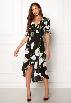 AX Paris Foral Tie Wrap Dress Black Bubbleroom.fi