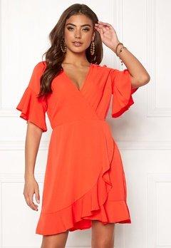 AX Paris Frill Sleeve Wrap Dress Orange Bubbleroom.fi
